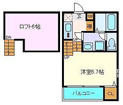 (仮称)八本松1丁目コーポ 1階1Kの間取り
