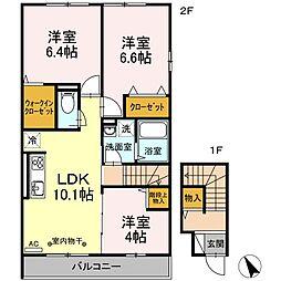 神奈川県平塚市根坂間の賃貸アパートの間取り