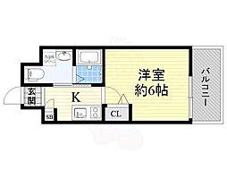Live Casa 上新庄 7階1Kの間取り