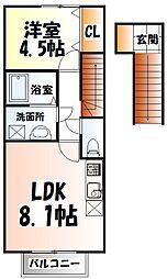 仙台市営南北線 富沢駅 徒歩10分の賃貸アパート 2階1LDKの間取り