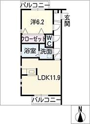 リバービュー[2階]の間取り
