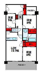 パークサンリヤン博多の森I・II 6階3LDKの間取り