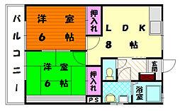 福岡県福岡市東区水谷2丁目の賃貸アパートの間取り