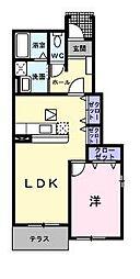 広島県福山市山手町3丁目の賃貸アパートの間取り