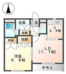 愛知県あま市七宝町川部出屋敷の賃貸アパートの間取り