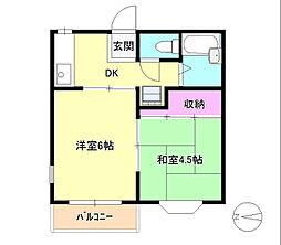 東京都八王子市台町2丁目の賃貸アパートの間取り