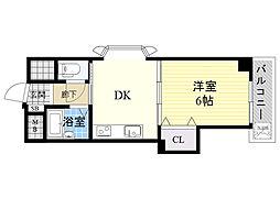 有馬パレス新大阪 8階1DKの間取り