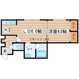 LEE SPACE 新道東III 3階1LDKの間取り