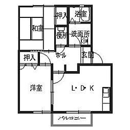 兵庫県揖保郡太子町矢田部の賃貸アパートの間取り