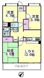 レジデンス花樹[1-302号室]の間取り
