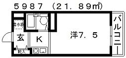 M・グレースヒルズ 2階1Kの間取り