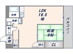 ロイヤルサカエマンション[502号室]の間取り