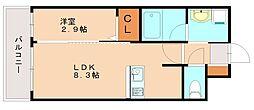 ヴィラージュ博多駅南 10階1LDKの間取り