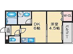 阪急京都本線 茨木市駅 徒歩11分の賃貸アパート 2階1DKの間取り