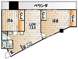 プリンセス黒住[3階]の間取り