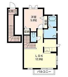 オレンジハウス 2階1LDKの間取り