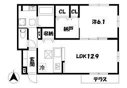 京都府京都市山科区西野小柳町の賃貸アパートの間取り