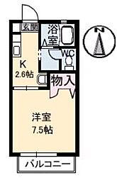 岡山県総社市中央1の賃貸アパートの間取り