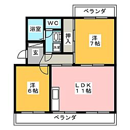 ラフォーレ西焼津[3階]の間取り