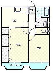 新潟県新発田市五十公野の賃貸マンションの間取り