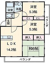 愛知県西尾市桜町1丁目の賃貸マンションの間取り