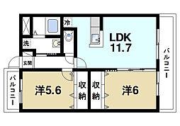 奈良県奈良市三条大路3丁目の賃貸マンションの間取り