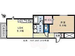 泉北高速鉄道 泉ヶ丘駅 徒歩17分の賃貸マンション 1階1LDKの間取り