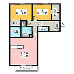 (仮)D-room竹ノ岬[2階]の間取り