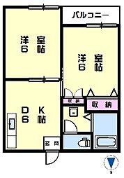 宮ノ前ハイツ2階Fの間取り画像