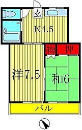 東初石コーポ[1階]の間取り