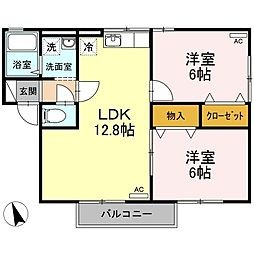 伊予鉄道高浜線 港山駅 徒歩8分の賃貸アパート 2階2LDKの間取り