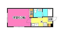 埼玉県所沢市西所沢2丁目の賃貸アパートの間取り