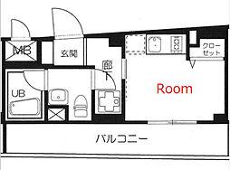 アイランドコア横濱平沼 1階ワンルームの間取り