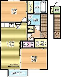 ヴェルジェ深田Ⅱ[2階]の間取り