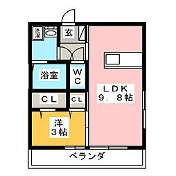 岡山県岡山市中区藤原光町1の賃貸アパートの間取り