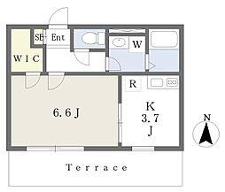 JR南武線 矢川駅 徒歩14分の賃貸マンション 1階1Kの間取り