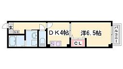 古湊第二リーフビル 3階1DKの間取り