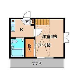 近鉄南大阪線 高田市駅 徒歩13分の賃貸アパート 1階1Kの間取り