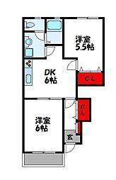 MIKI HOUSE IV A棟 1階2DKの間取り
