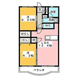 静岡県静岡市駿河区宮竹2丁目の賃貸マンションの間取り