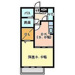 兵庫県尼崎市上坂部3丁目の賃貸アパートの間取り