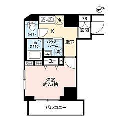 東京メトロ東西線 門前仲町駅 徒歩5分の賃貸マンション 3階1Kの間取り