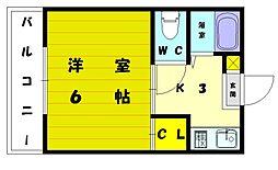 ボンアール西津[2階]の間取り