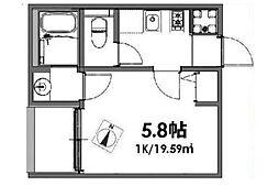 ベルメント東平賀[2階]の間取り