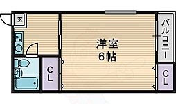 レヂデンスパート1 4階1DKの間取り