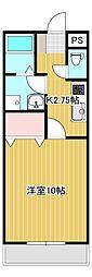 JR身延線 常永駅 徒歩7分の賃貸マンション 2階1Kの間取り
