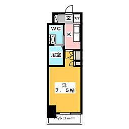 AZESTお花茶屋II 11階1Kの間取り