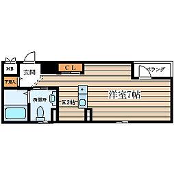 サンキャッスル田川[4階]の間取り