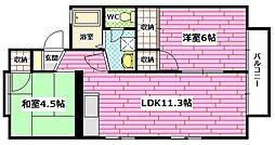 広島県広島市安佐南区中須2丁目の賃貸アパートの間取り