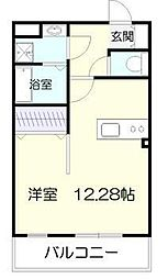マリベールARASHIII 1階ワンルームの間取り